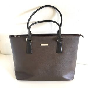 Authentic Burberry dark brown leather tote